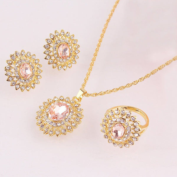 Sell: 18k Gold Plated Austrian Crystal Sunflower Pendant Necklace Earring Ring Sets Women