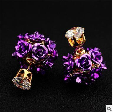 TUKER Double Side Rose Flower Stud Earring Cocktail Party Gold Filled Crystal Earrings Women