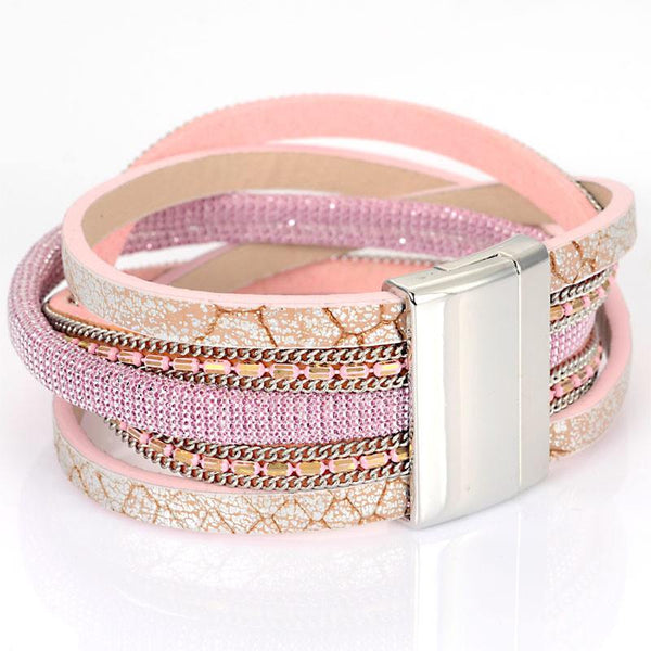 Wide Magnetic Bracelet With Braided PU Leather & Metal Chains Magnetic Bracelets Women Gifts