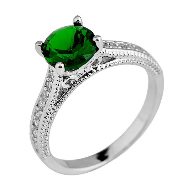 Women/Men Round Green Emerald Ring Anel Aneis White Gold Filled White CZ Wedding Band Engagement Rings RW1090