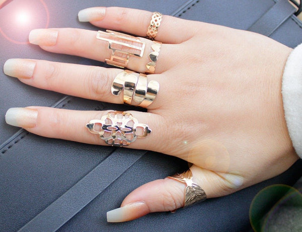 Zinc Alloy Metal Gold Plated With Pattern Ring Sets For Fashion Girls Gift Trendy Ring For 6 Pieces With Different Pattern R065