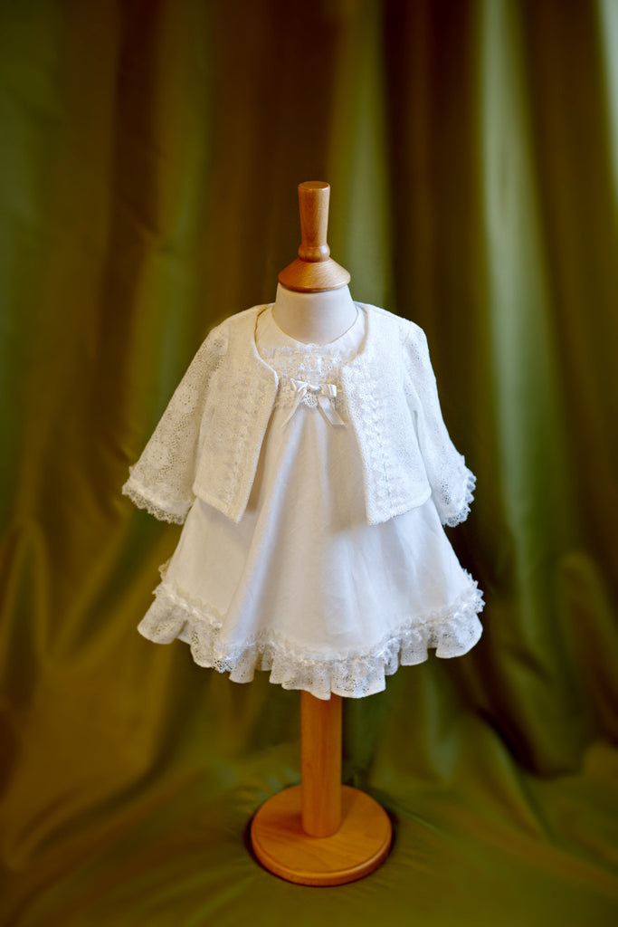Christening Dress and Cardigan Set 'love'