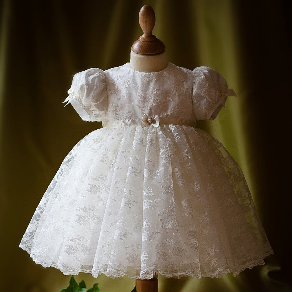 Princess Charlotte edition Maria lace Dress (pink ribbon trim)