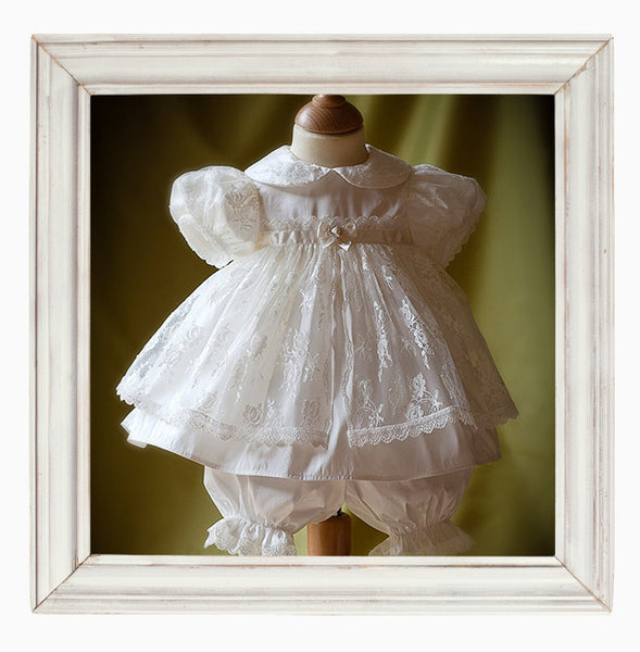 Chloe Silk Christening Dress and Bloomers