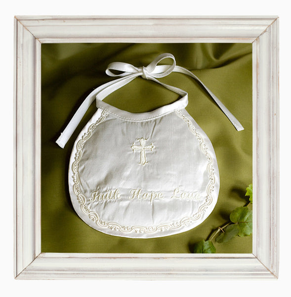 Faith Hope Love embroidered silk Bib