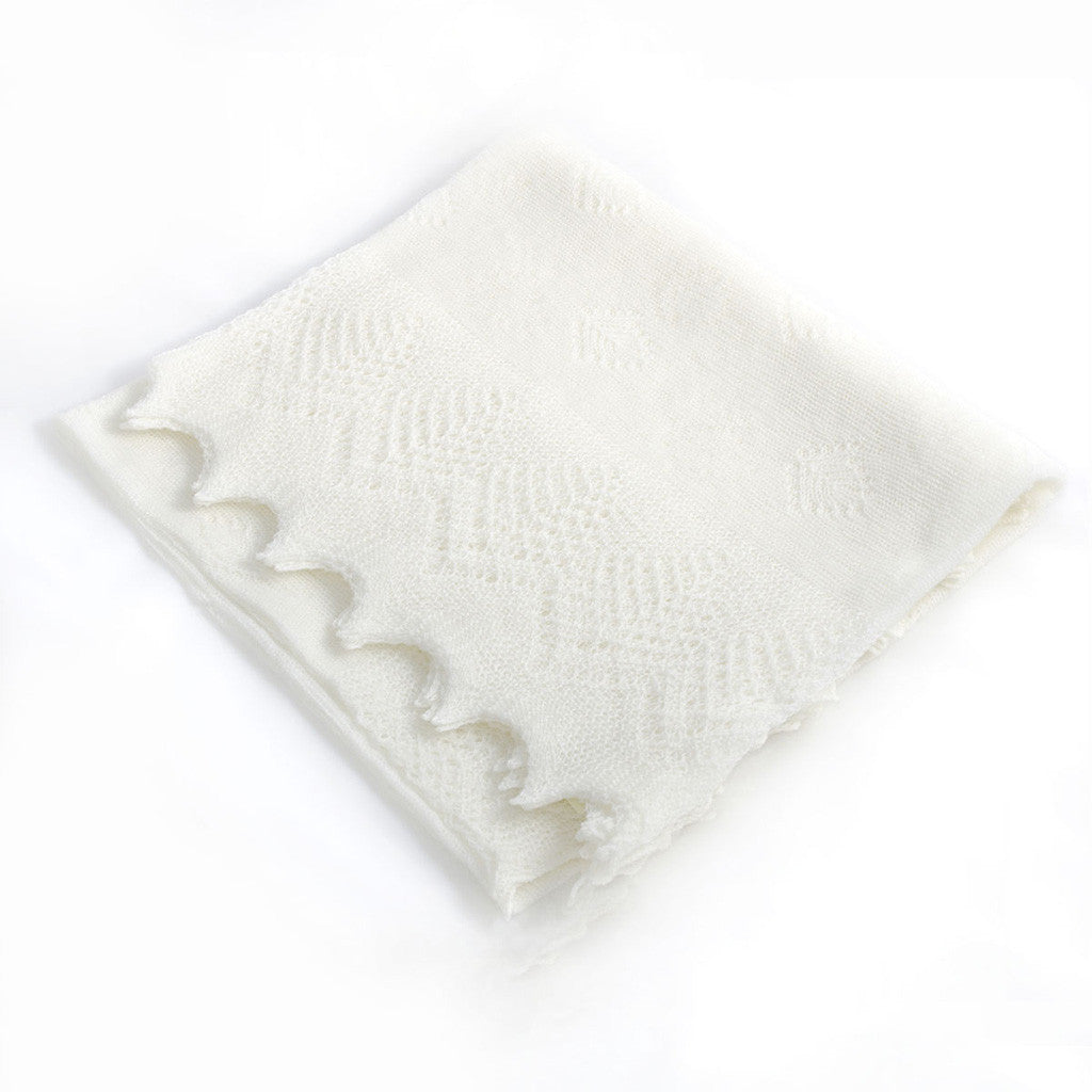 Christening Shawl 'Heaven' Ivory wool