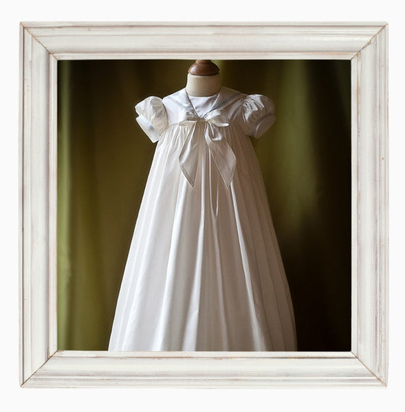 Boys Christening Gown with Ribbon Trim