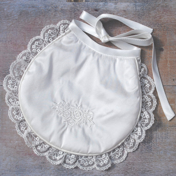 Emma Girls Christening Bib with lace trim