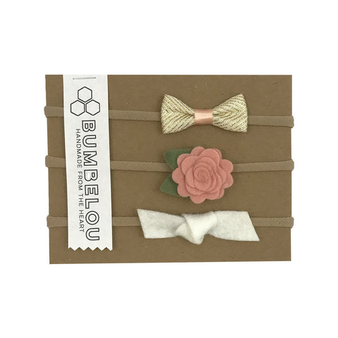 Bow & Flower Headband Set