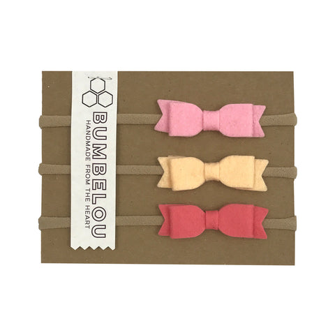 Felt Bow Headband Set - Pink & Peach