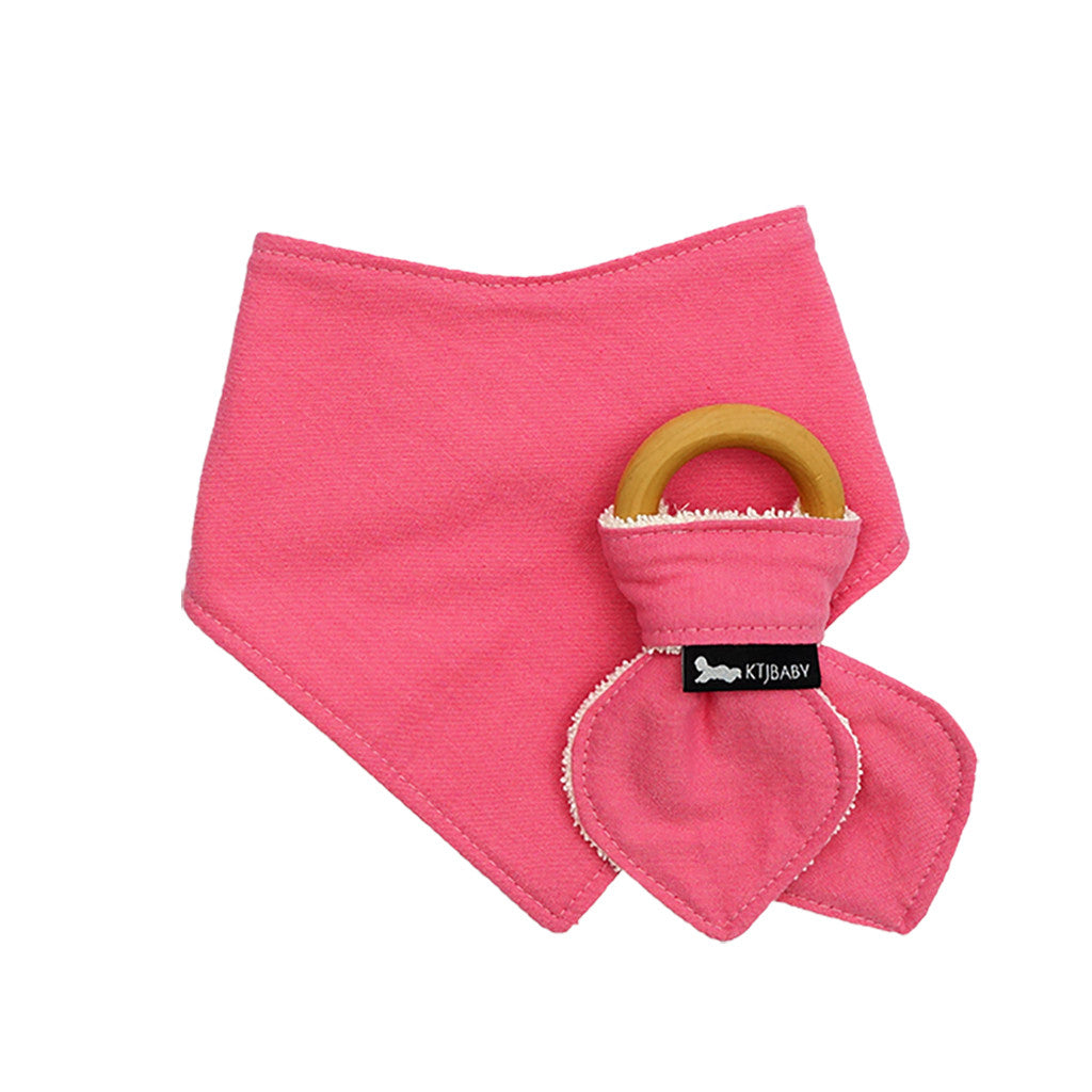 Organic Bib & Teether Set Pink