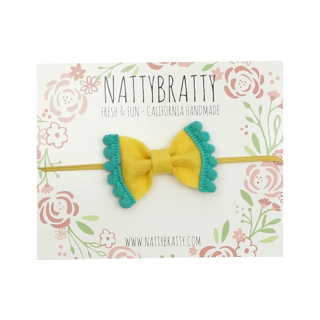 Felt Bow Headband Yellow & Teal