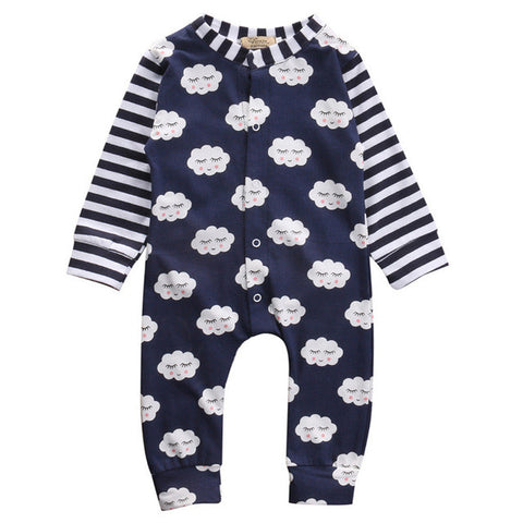 Cute Baby Boy Girl Onesie Shy Cloud Striped Print