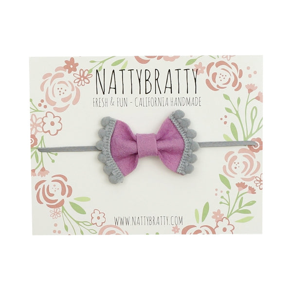 Felt Bow Headband Purple & Grey