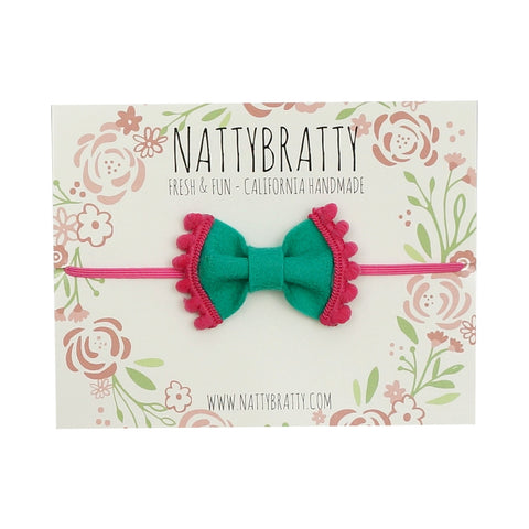 Felt Bow Headband Teal & Pink