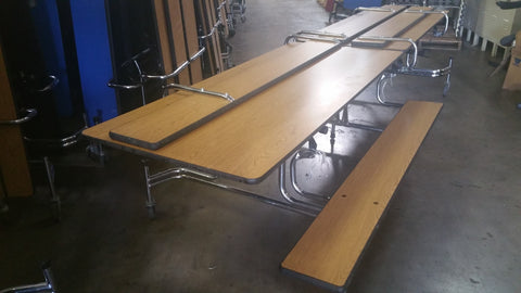 8ft Cafeteria Lunch Table w/ Foldable Bench Seat,Walnut, Adult Size (RF)