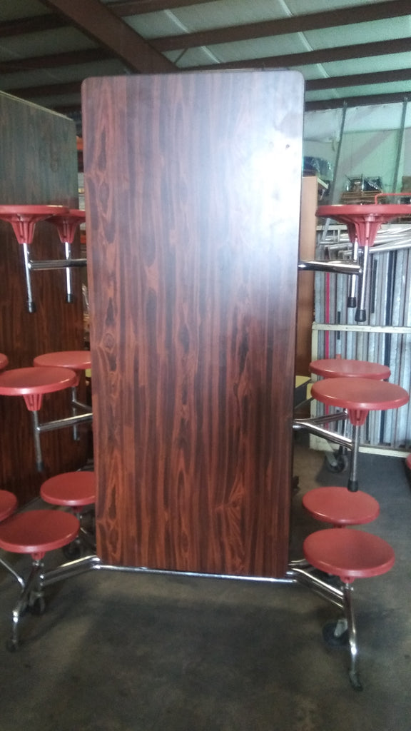 12ft Cafeteria Lunch Table w/ Stool Seat, Cherry Wood Grain Top, Red Orange Seat, Adult Size (RF)