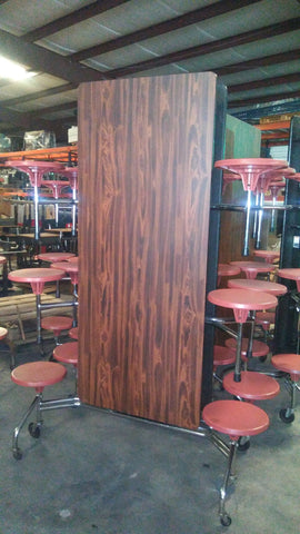 12ft Cafeteria Lunch Table w/ Stool Seat, Cherry Wood Grain Top, Red Orange Seat, Elementary Size (RF)