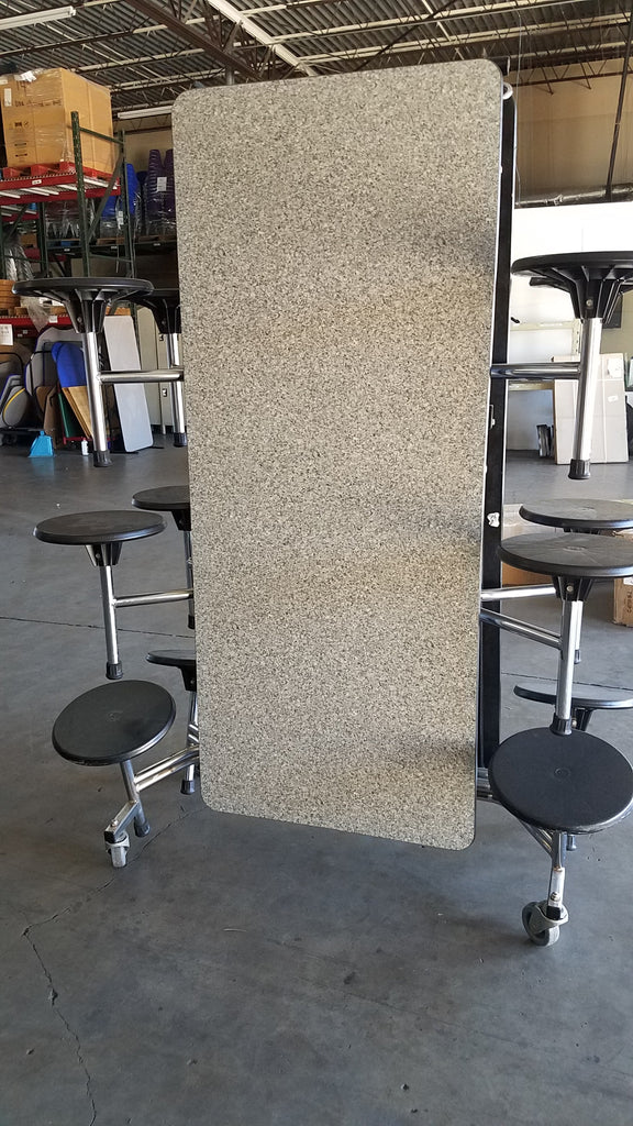 12ft Cafeteria Lunch Table w/ Stool Seat, Grey Dotted Glaze Top, Black Seat, Adult Size (RF)