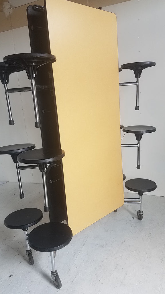12ft Cafeteria Lunch Table w/ Stool Seat, Maroochi Brush Top, Black Seat, Adult Size (RF)