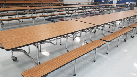 12ft Cafeteria Lunch Table w/ Bench Seat, Wood Grain, Adult Size (RF)