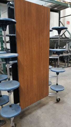 12ft Cafeteria Lunch Table w/  Stool Seat, Walnut Top, Blue Seat, Elementary Size (RF)