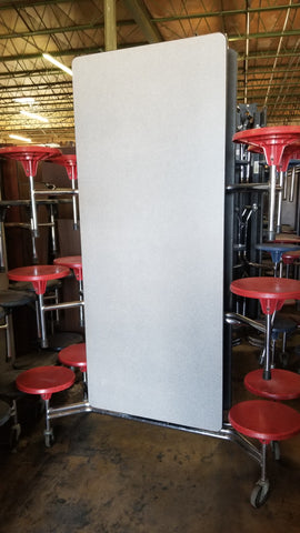 12ft Cafeteria Lunch Table w/ Stool Seat, Grey Top, Red Seat, Adult Size (RF)