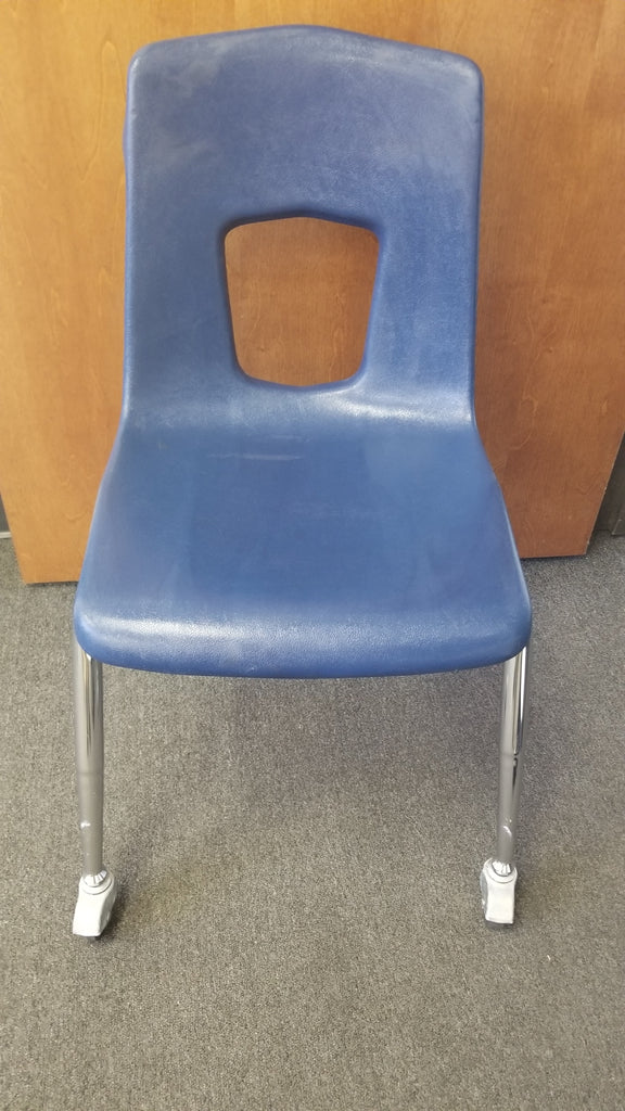 18in Artco Bell Uniflex Student Chair w/ Casters, Navy Blue (RF)