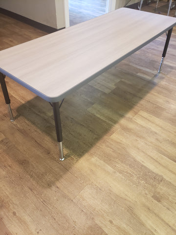 24in x 60in Rectangle Adjustable Activity Table, Grey Wood Grain Top / Grey Edge, Elementary SIZE ONLY (MS)