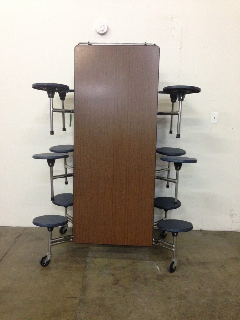 12ft Cafeteria Lunch Table w/ Stool Seat, Walnut Top, Blue Seat, Adult Size (RF)