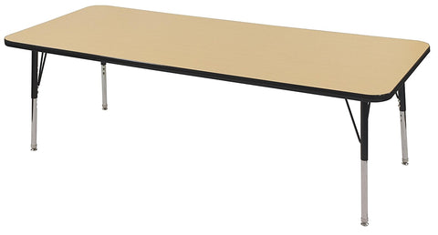 36in x 72in Rectangle Adjustable Activity Table, Bannister Oak / Black (MS)