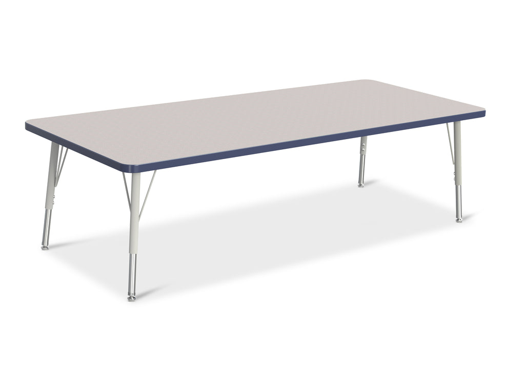 "Berries® Toddler Size Rectangle Activity Table Top - 72"" x 36"" - Gray/Navy, Toddler Size Adjustable Legs, Grey Top (MS)"