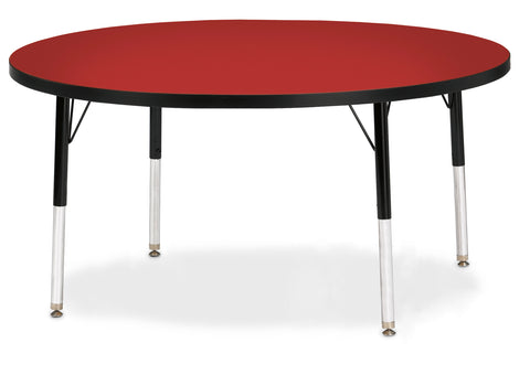 "Berries® Toddler Size Round Activity Table Top - 60"" Diameter - Red/Black (MS)"