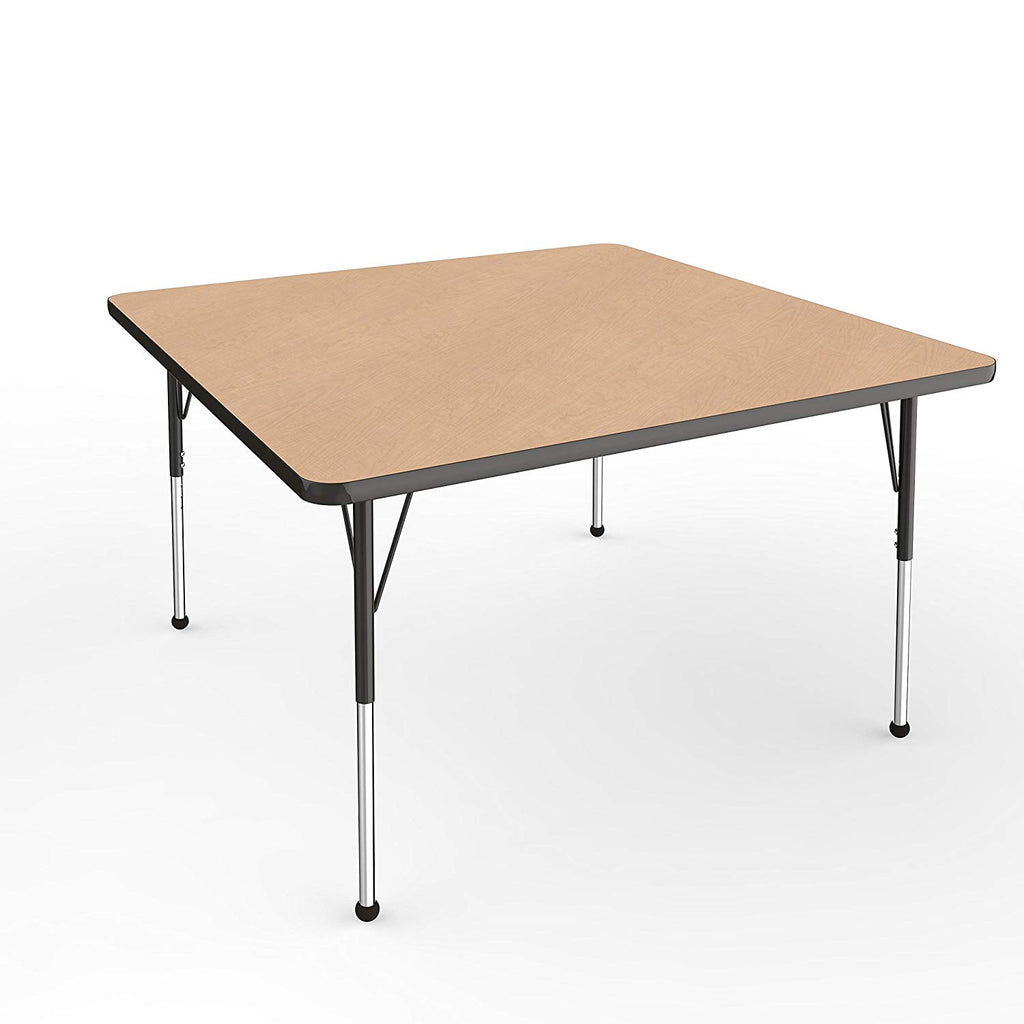 48in x 48in Square T-Mold Adjustable Activity Table, Maple / Black (MS)