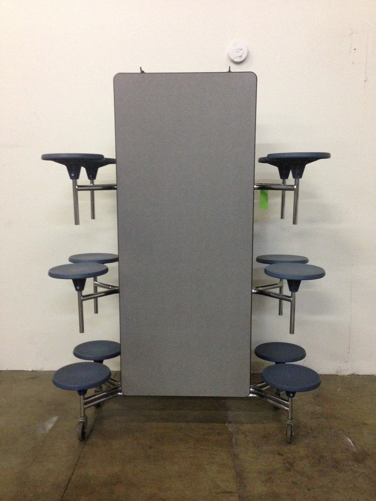 12ft Cafeteria Lunch Table w/ Stool Seat, Grey Top, Blue Seat, Elementary Size (RF)