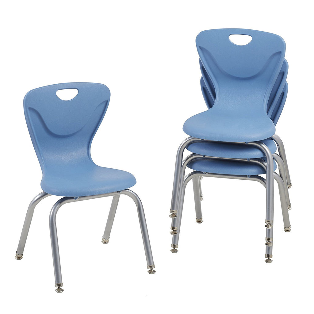 "ECR4Kids 14"" Contour School Stacking Student Chair, Molded, Powder Blue (Set of 4)"