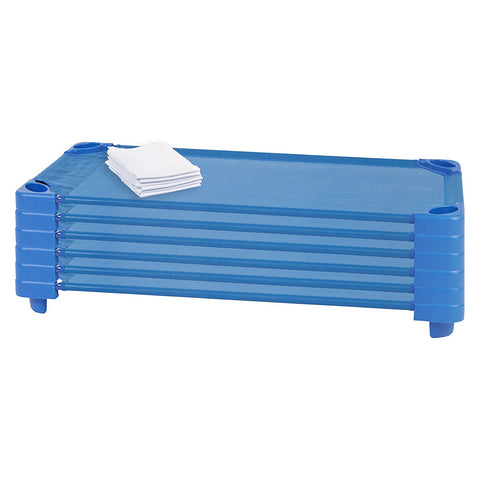 ECR4KIDS Standard Stackable Kiddie Cot with Sheets, RTA, Pack of 6, Blue (MS)
