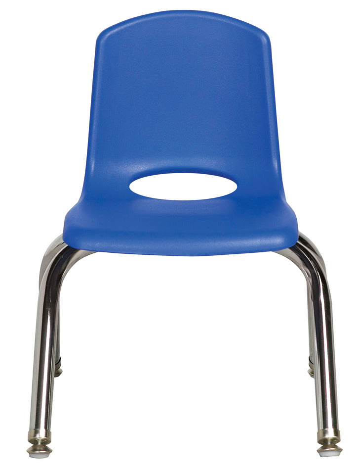 10inch Stack Chair, Blue, Chrome Swivel Glide (MS)