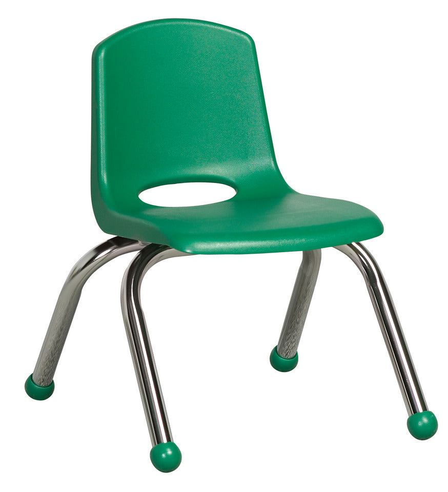 10inch Stack Chair, Green, Chrome Ball Glide (MS)(WPO)