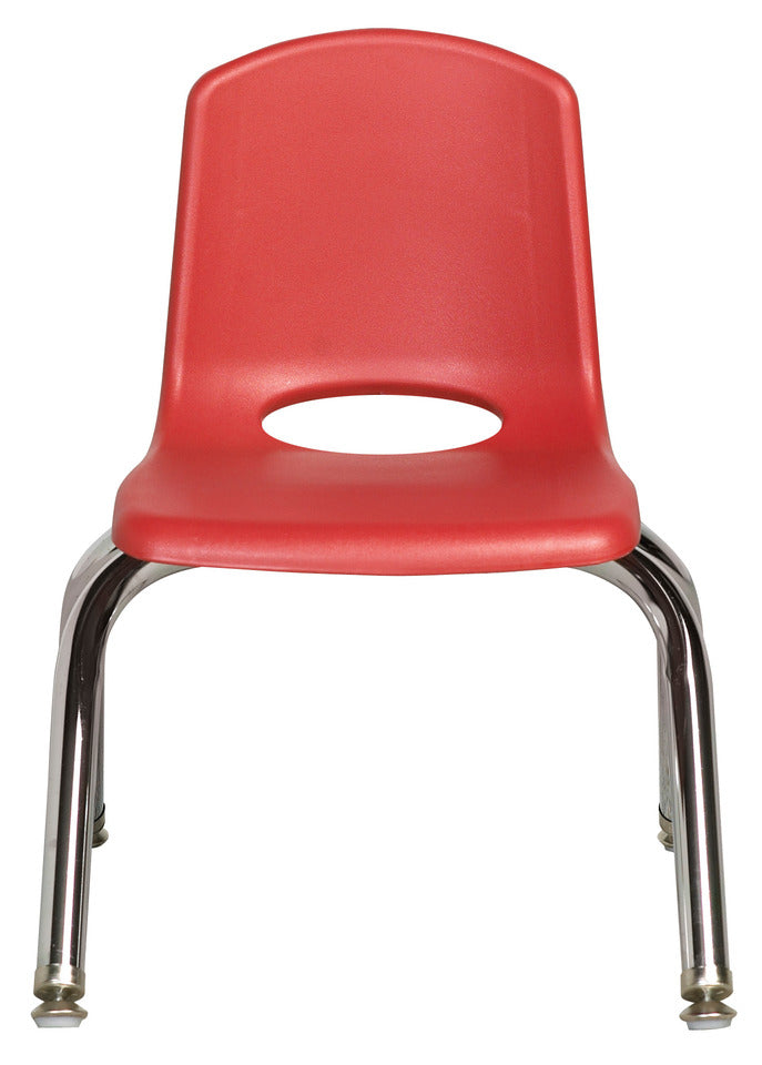 10inch Stack Chair, Red, Chrome Swivel Glide (MS)