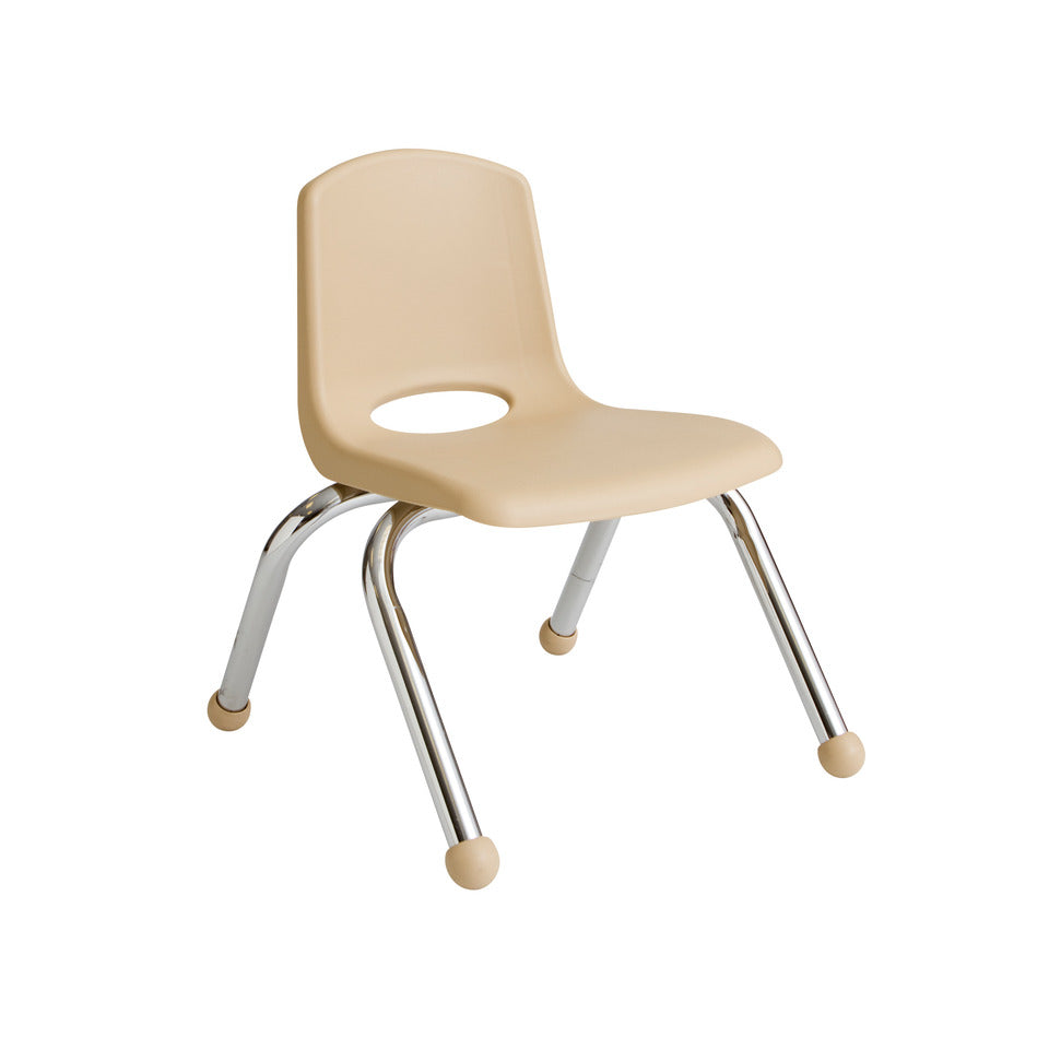 10inch Stack Chair, Sand, Chrome Ball Glide (MS)
