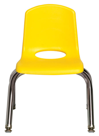 10inch Stack Chair, Yellow, Chrome Swivel Glide (MS)(WPO)