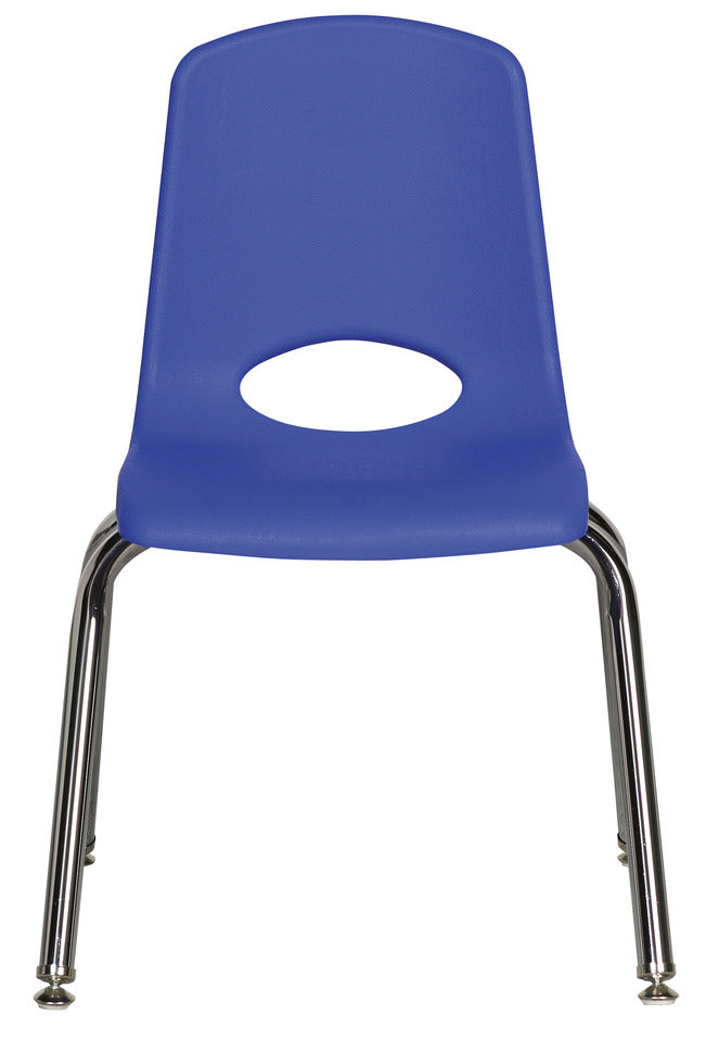 14inch Stack Chair, Blue, Chrome Swivel Glide (MS) (WPO)
