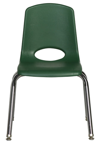 16inch Stack Chair, Green, Chrome Swivel Glide (MS)