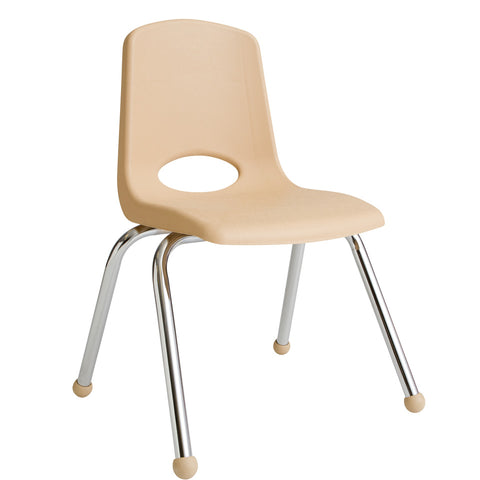 14inch Stack Chair, Sand, Chrome Ball Glide (MS) (WPO)