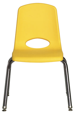 16inch Stack Chair, Yellow, Chrome Swivel Glide (MS)