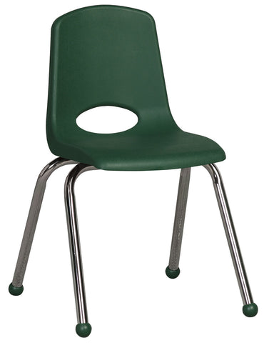 16inch Stack Chair, Green, Chrome Ball Glide (MS)