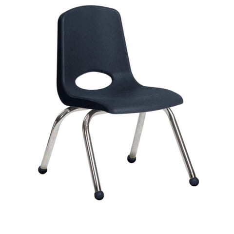 10 inch Stack Chair, Navy, Chrome Ball Glide (MS)