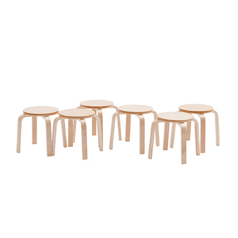 Bentwood Stools 6-Piece Set, Natural (MS)