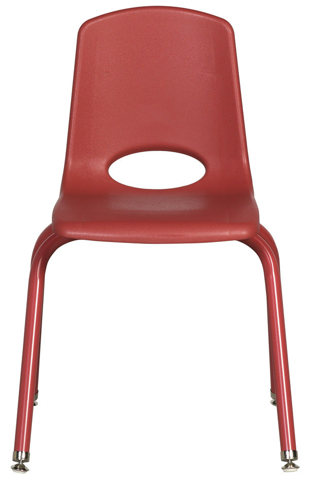 16inch Stack Chair, Red, Painted Swivel Glide (MS) (WPO)
